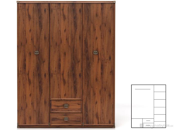 Šatní skříň - BRW - INDIANA - JSZF 3D2S (Dub sutter)